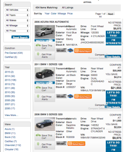 CarStory Search Results Integration Screen Shot